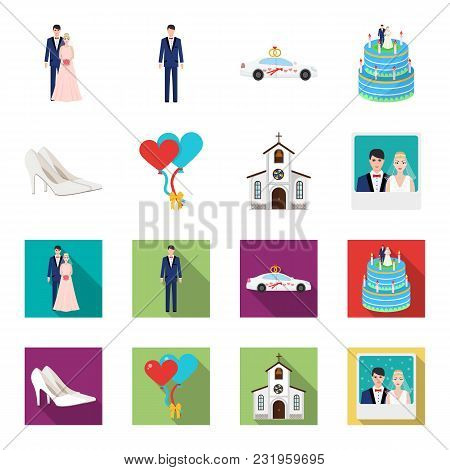 Wedding And Attributes Cartoon, Flat Icons In Set Collection For Design.newlyweds And Accessories Ve