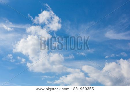 Light Gentle Cloud On A Blue Sky, Natural Background