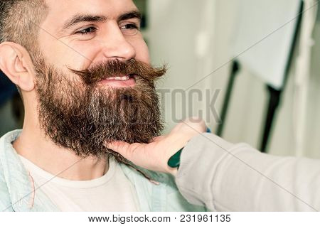 A Woman's Hand Touches A Handsome Man By The Beard