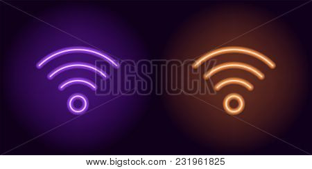 Purple And Orange Neon Wi-fi Sign. Vector Silhouette Of Neon Wi-fi Zone Consisting Of Outlines, With