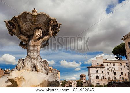 Fountain Of The Tritons, Beautiful Baroque Fountain Completed In 1715, In The Historic Center Of Rom