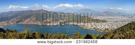 Panoramic View Of Mounts Annapurna And Manaslu Himalayan Range, Pokhara And Phewa Lake, Pokhara Vall