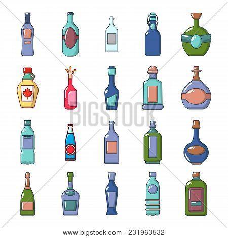 Alcohol Bottle Icon Set. Cartoon Set Of Alcohol Bottle Vector Icons For Web Design Isolated On White