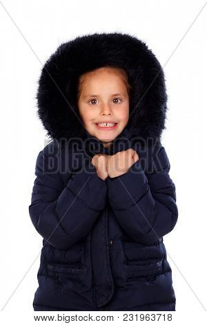Sheltered girl with black coat and hood isolated on a white background