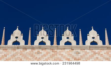 Gothic Ornamental Pinnacles With Blue Sky In Venice