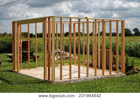 The Framework And Cement Foundation Of A New Shed