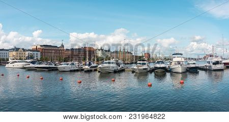 Powerboats Moored In The Harbor, Helsinki, Finland