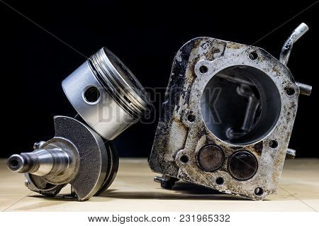 Crankshaft, Piston And Other Parts Of The Internal Combustion Engine. Disassembled Single-piston Fou