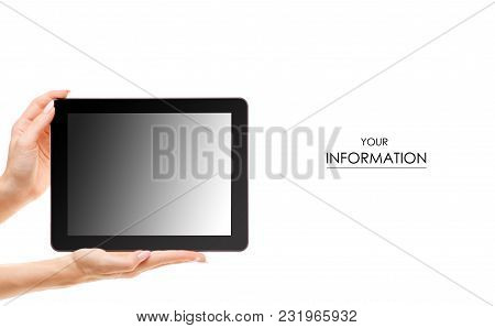 Tablet In Hand Pattern On White Background Isolation