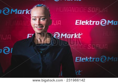 Vilnius, Lithuania - December 19, 2017: Sophia Humanoid Robot Speaking And Smiling To The Crowd Of P