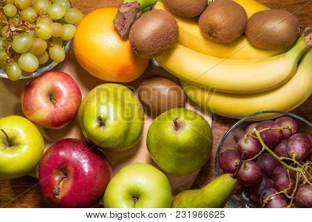 A Flat View At The Fruit Assortment
