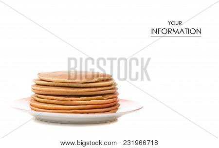 Pancakes On A Plate Pattern On White Background Isolation