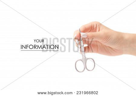 Manicure Scissors In Hand Pattern On White Background