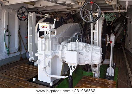Steel Anchor Windlass On A Sailing Ship.