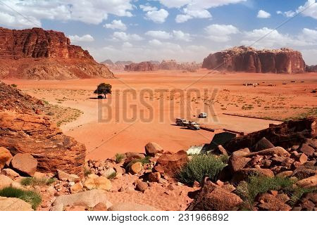Aerial View To The Wadi Rum Desert In Jordan. Wadi Rum Also Known As The Valley Of The Moon Is A Val