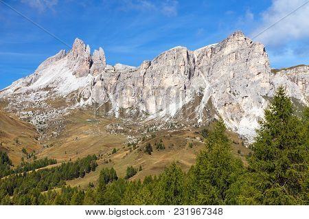 Becco Di Mezzodi And Rocheta, Beautiful Alpi Dolomiti Mountains In Italia, Alps Dolomites Mountains