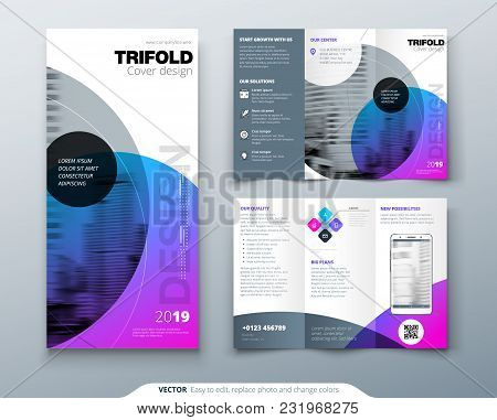 Tri Fold Brochure Design. Purple Corporate Business Template For Tri Fold Flyer. Layout With Modern