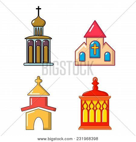 Church Icon Set. Cartoon Set Of Church Vector Icons For Web Design Isolated On White Background
