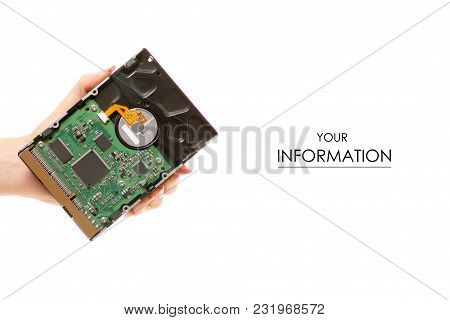 Hard Drive In Hand Pattern On White Background Isolation