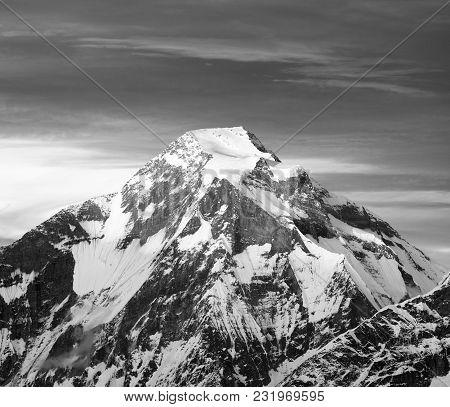Mount Dhaulagiri, Nepal Himalayas Mountains, Black And White View