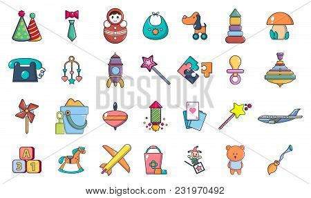 Toys Icon Set. Cartoon Set Of Toys Vector Icons For Web Design Isolated On White Background