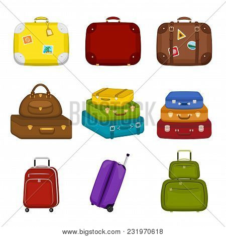 Set Of Various  Travel Bags Suitcases With Stickers On Isolated White Background. Summer Travel Hand