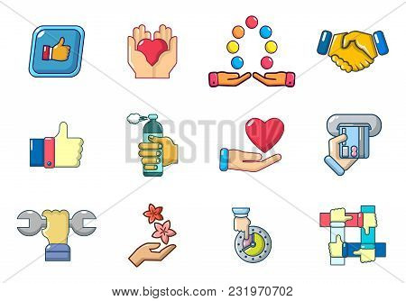 Hand Object Icon Set. Cartoon Set Of Hand Object Vector Icons For Web Design Isolated On White Backg