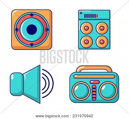 Speaker Icon Set. Cartoon Set Of Speaker Vector Icons For Web Design Isolated On White Background