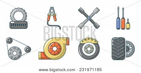 Car Parts Icon Set. Cartoon Set Of Car Parts Vector Icons For Web Design Isolated On White Backgroun