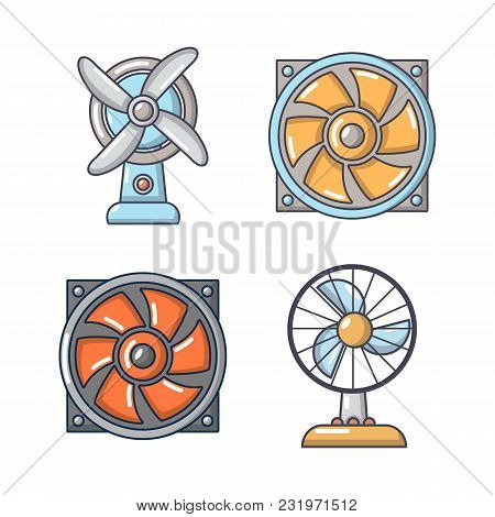Fan Icon Set. Cartoon Set Of Fan Vector Icons For Web Design Isolated On White Background