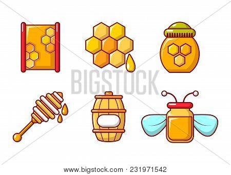 Honey Icon Set. Cartoon Set Of Honey Vector Icons For Web Design Isolated On White Background