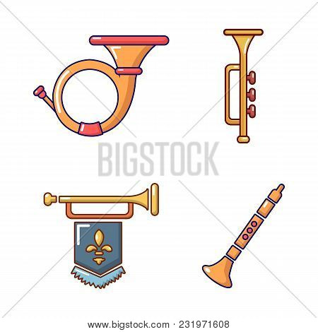 Trumpet Icon Set. Cartoon Set Of Trumpet Vector Icons For Web Design Isolated On White Background