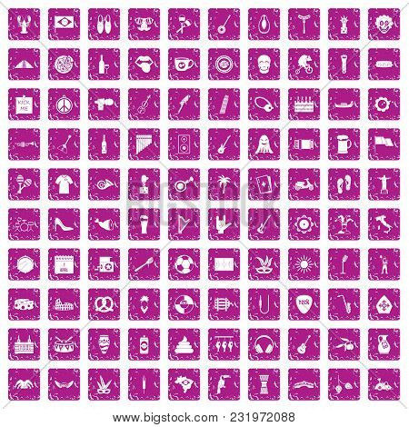 100 Street Festival Icons Set In Grunge Style Pink Color Isolated On White Background Vector Illustr