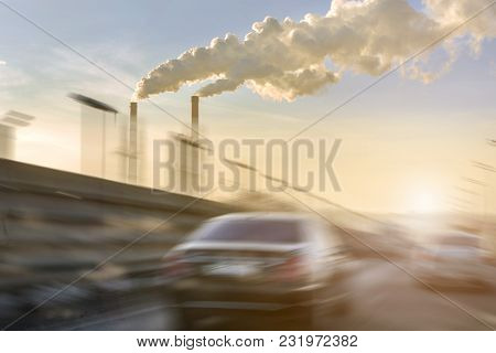 Cars Moving Fast On City Highway. Smoking Factory Pipes With White Clouds Of Smog On Background. Mot