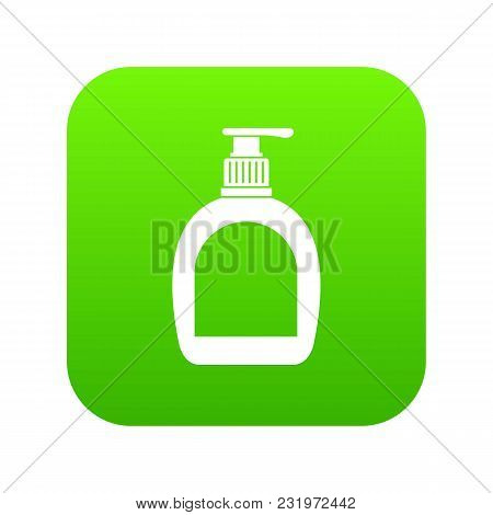 Bottle With Liquid Soap Icon Digital Green For Any Design Isolated On White Vector Illustration