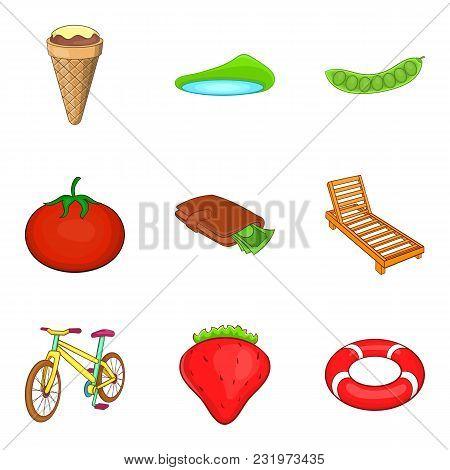 Outdoor Activities Icons Set. Cartoon Set Of 9 Outdoor Activities Vector Icons For Web Isolated On W