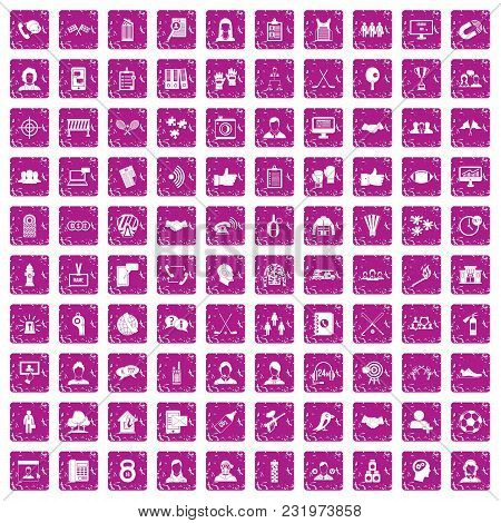 100 Team Icons Set In Grunge Style Pink Color Isolated On White Background Vector Illustration