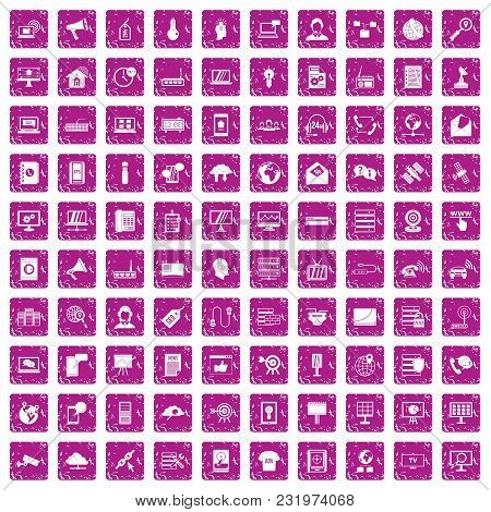 100 Telecommunication Icons Set In Grunge Style Pink Color Isolated On White Background Vector Illus