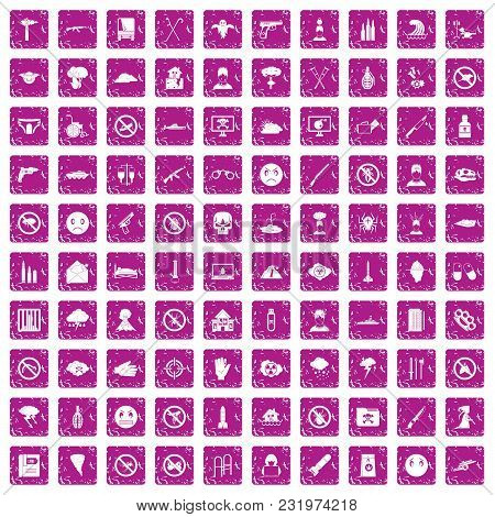 100 Tension Icons Set In Grunge Style Pink Color Isolated On White Background Vector Illustration