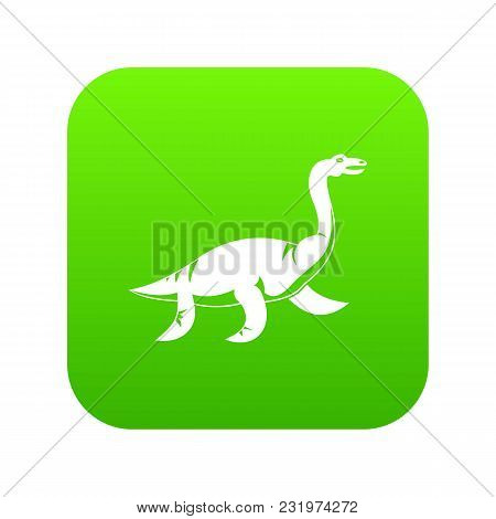 Elasmosaurine Dinosaur Icon Digital Green For Any Design Isolated On White Vector Illustration