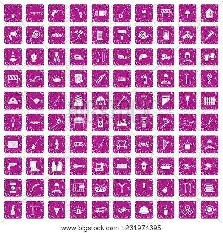 100 Tools Icons Set In Grunge Style Pink Color Isolated On White Background Vector Illustration