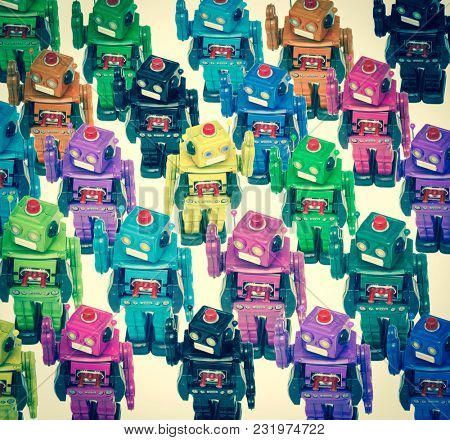 lots of color robots in a crowd with on going the other direction
