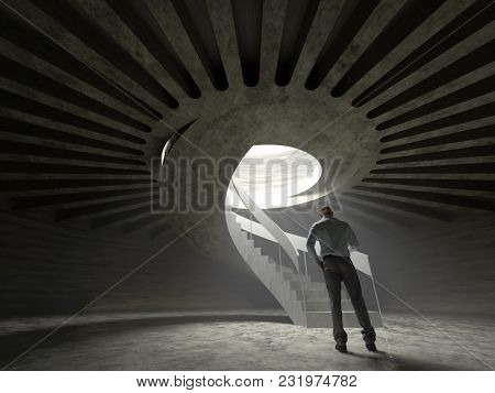 man in a shelter, 3d illustration