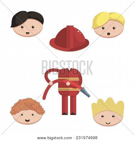 Character Firefighter Constructor. Choose A Hairstyle, A Set For Animation Cartoon Style Vector Illu