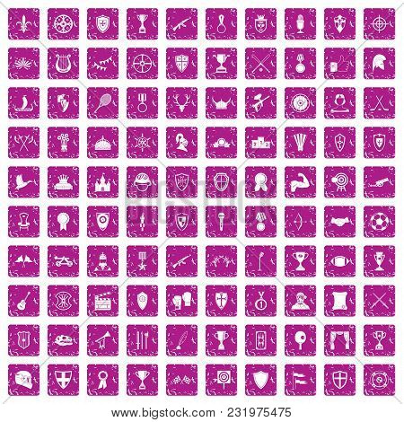 100 Trophy And Awards Icons Set In Grunge Style Pink Color Isolated On White Background Vector Illus