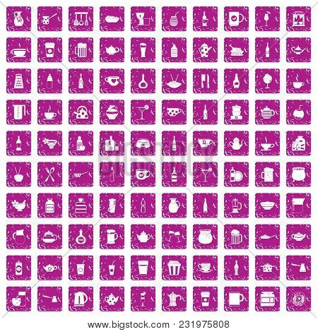 100 Utensil Icons Set In Grunge Style Pink Color Isolated On White Background Vector Illustration