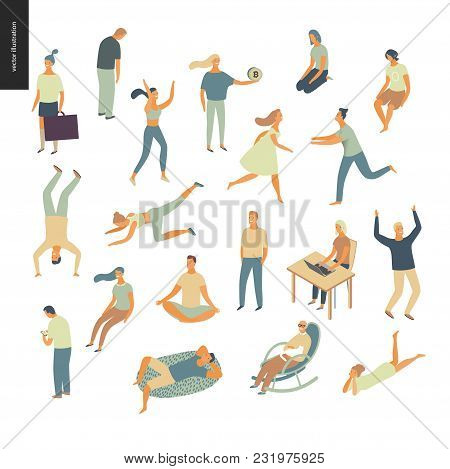 Set Of Vector Illustrated People Acting And Relaxing