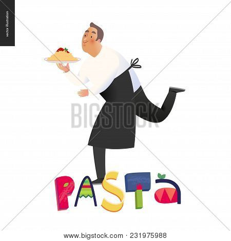 Italian Restaurant Set - A Running Waiter Wearing The Uniform Holding A Dish Of Pasta With Red Bolog
