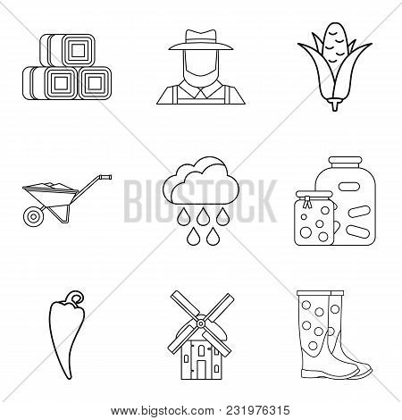 Mixed Vegetable Icons Set. Outline Set Of 9 Mixed Vegetable Vector Icons For Web Isolated On White B