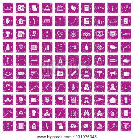 100 Violation Icons Set In Grunge Style Pink Color Isolated On White Background Vector Illustration